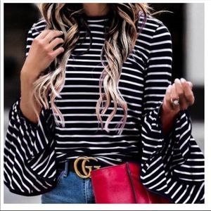 Tops - STRIPED BOHO BELL SLEEVE TOP NWT BLACK AND WHITE
